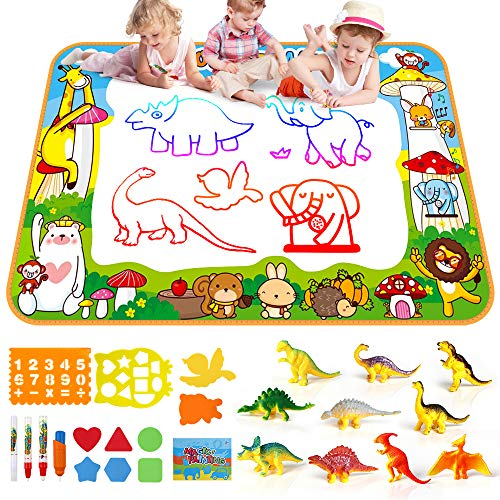 SmilePowo Aqua Magic Water Drawing Mat Set +10 Dinosaur Toy Set, (26 Pcs) ,Children Coloring Mat for Floor, Birthday Gift Kids Toddler Educational Toy Mat, Painting Writing Pad Doodle Board