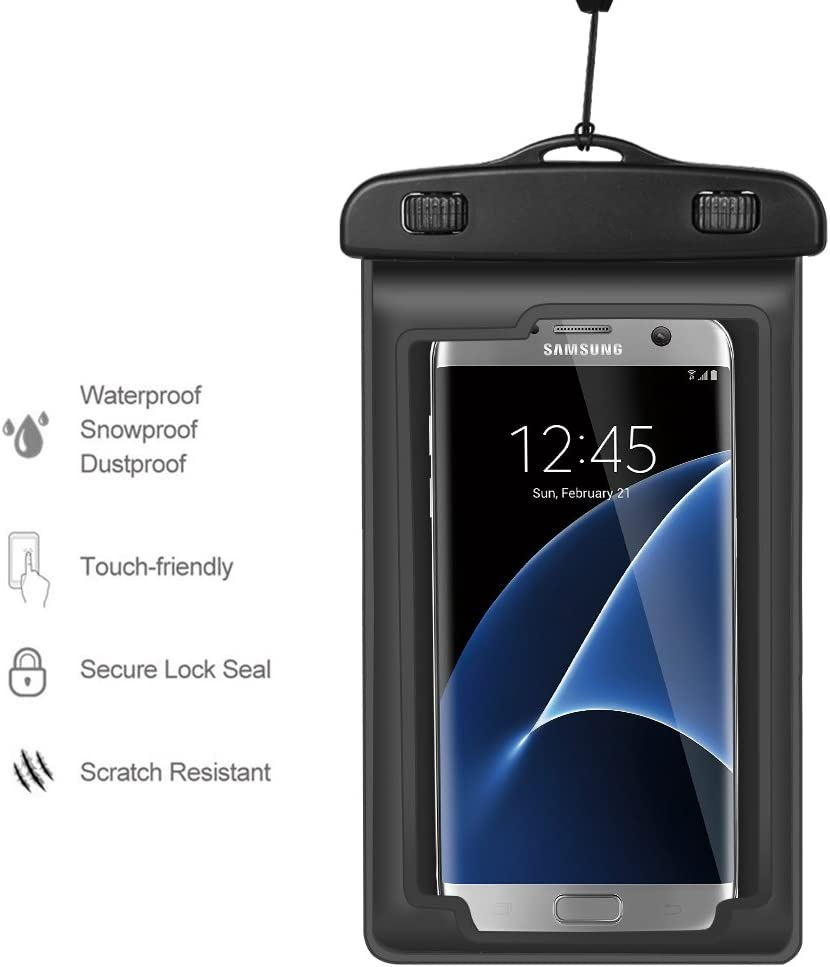 Outdoor Water Sports Waterproof Phone Case Dry Bag Pouch w/Arm Band Lanyard Compatible iPhone Xs Max/Galaxy S10 Plus / S10 / J7 Prime 2 / J7 Pro / J7 Duo / J8 / NUU G3 / HTC U12+ Up to 6.5
