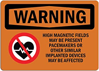 Warning Sign - High Magnetic Fields Pacemakers Bilingual    Label Decal Sticker Retail Store Sign Sticks to Any Surface 8