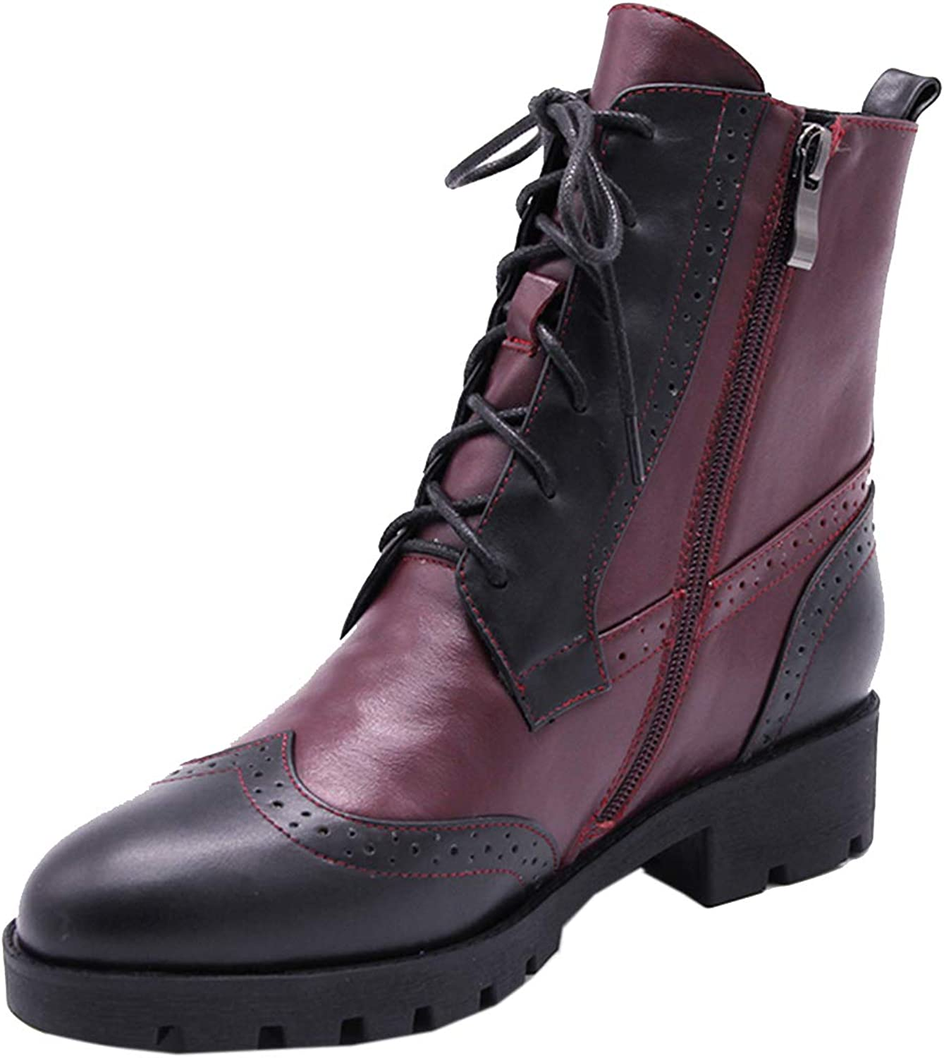 Vitalo Womens Lace Up Flat Ankle Boots Zip Up Autumn Winter Booties
