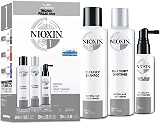 Nioxin System 1 Natural Hair Light Thinning Kit for Unisex, 3 Piece 10.1oz Cleanser Shampoo, 10.1 oz Scalp Therapy Conditioner, 3.38oz Scalp and Hair Treatment, 3 count