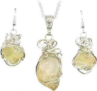 Libyan Desert Glass Cosmic Jewelry Pendant Necklace Earrings Set