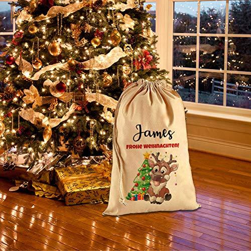 Tullun Personalisierte Santa Weihnachtssack Extra groß XL (75 x 49 cm 38 Liter) - Rentier Rudolf