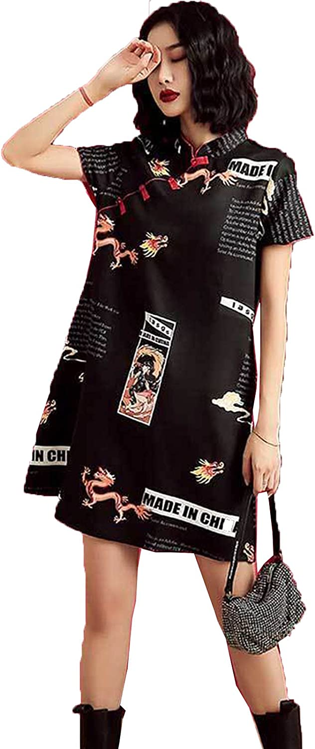 Challenge the lowest price SADWQ SALENEW very popular Cheongsam Young Summer Short Siz Improved Girl Loose Large