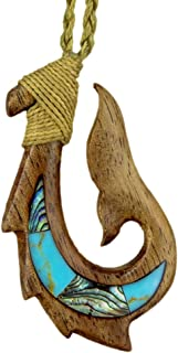 Earthbound Pacific Hawaiian Fish Hook Necklace Hand Carved Genuine Koa with Inlay Collection