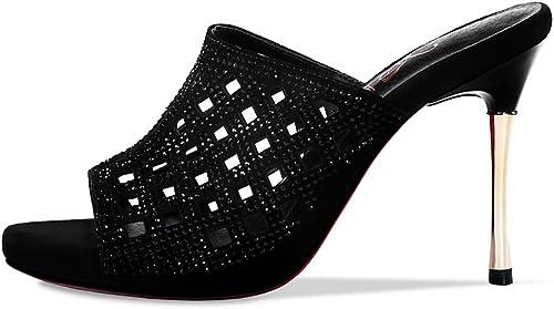 QIDI Sandales Saison D'été Femme Noir Creux Imperméable Talons Hauts Hauts ( taille   EU36 UK4 )  Découvrez le moins cher