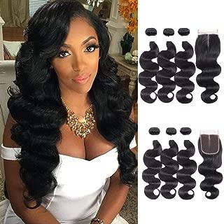 Bundles Body Wave Middle Part with Closure Brazilian Hair Bundles Extensions Virgin Weave Hair Human 3 Bundles Black for Women (14 16 18 + 12CL)