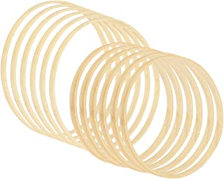 12 Pcs Wooden Dream Catcher Rings, Bamboo Hoop Rings, Macrame Craft Hoop Rings, Wooden Bamboo Floral Hoop Set for DIY Flor...