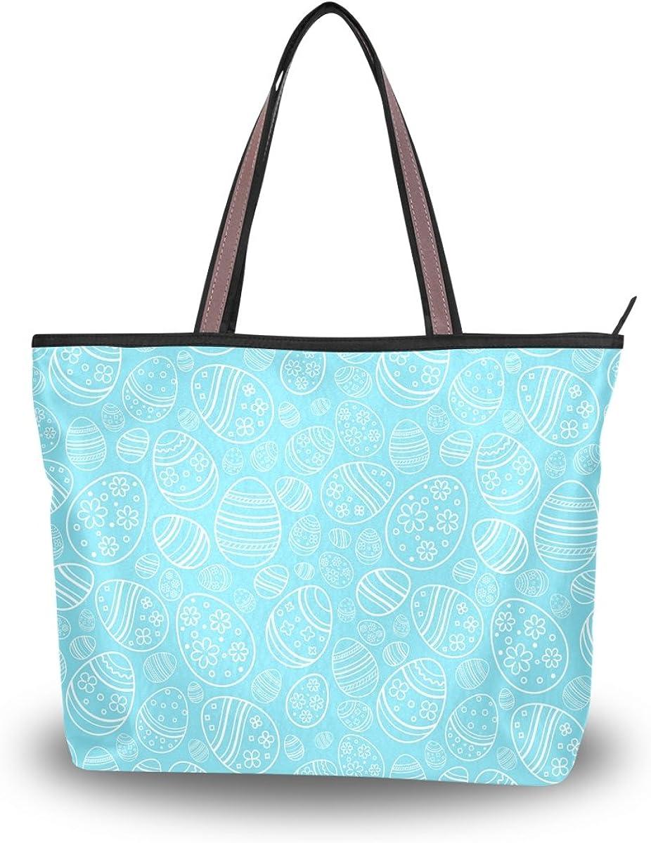 JSTEL Women Large Tote Top Handle Shoulder Bags Easter Holiday Blue Eggs Patern Ladies Handbag