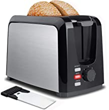 Toaster 2 Slice Stainless Steel Toaster Two Slice Toaster with Removable Crumb Tray Toaster Wide Slot Toasters 2 Slice Best Rated Prime with 7 Bread Shade Settings, Bagel, Defrost, Cancel Functions for Bread, Waffles