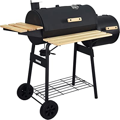 charaHOME BBQ Charcoal Grill with Offset Smokerr,Barbecue Grill for Outdoor Camping or Backyard with Side Fire Box,Heavy-Duty Steel,Black