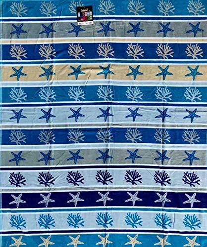 Seafloor - Toalla de playa para cama de matrimonio, 100% rizo de algodón, 140 x 170 cm, color azul