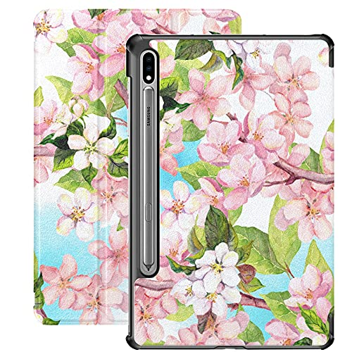 Elegante Rosa Apple Tree Blossom Flower Funda Samsung Galaxy Tab S7 Plus para Samsung Galaxy Tab S7 / s7 Plus Funda Samsung con Soporte Funda Trasera Galaxy 7 Funda para Galaxy Tab S7 11 Pulgadas S7