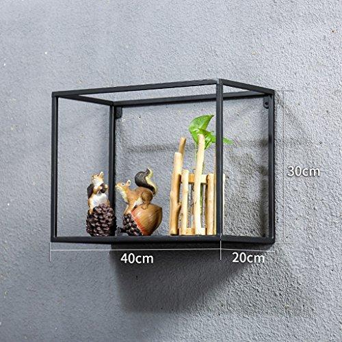 MMM& Étagère suspendue murale Étagère Cadre rétro Salle de séjour Show Flower Racks Creative ( Couleur : Noir , taille : 40*20*30cm )