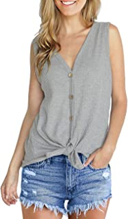 IWOLLENCE Womens Waffle Knit Tunic Blouse Tie Knot Henley Tops Loose Fitting Plain Shirts