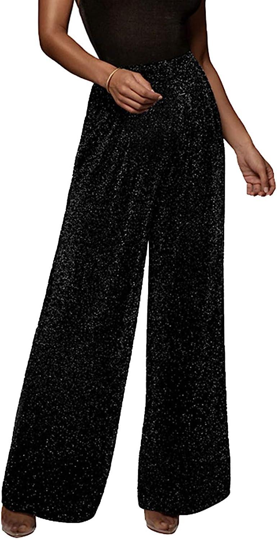 GUOLEZEEV Women High Elastic Waist Wide Leg Palazzo Pants Casual Loose Long Pant Trouser
