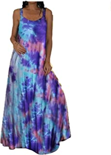 Brown Sleeveless Tie-Dye Embroidered Casual Dress 34 Sundress Cover-up Fits M-XXL