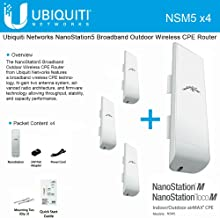 Ubiquiti NSM5 Bundle of 4 NanoStation M5 5GHz Outdoor airMAX CPE 150+Mbps 15+km