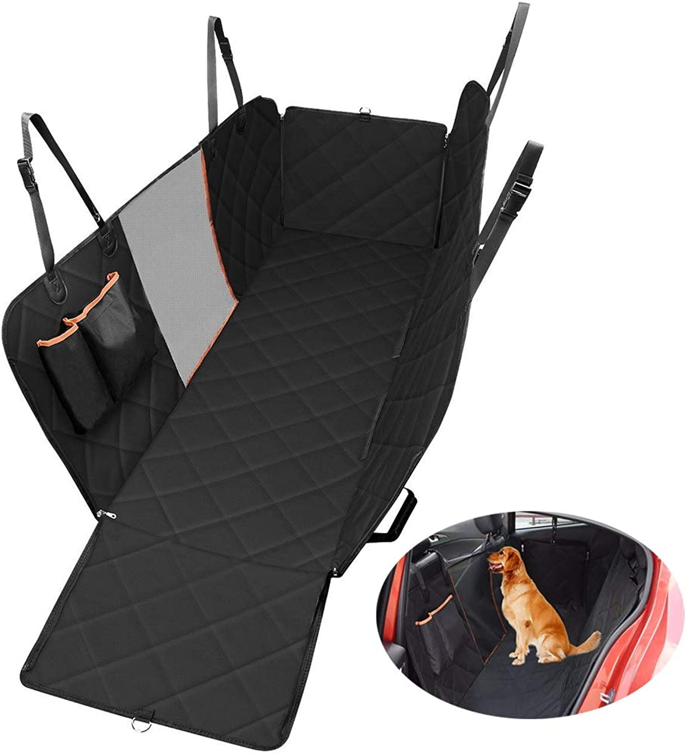 Dog Car Seat Covers with Mesh Viewing Window and Storage Bags,Heavy Duty Pet Travel Hammock,Waterproof & Scratch Proof & Washable for All Cars