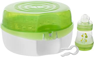 MAM Baby Bottle Sterilizer, Microwave Steam Baby Bottle Sterilizer with MAM 5 oz. Anti-Colic Baby Bottle and Nipple Tong, 3-Count