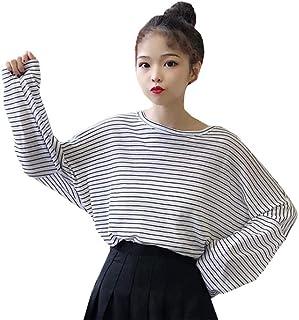 (ふーふうん) 长袖Tシャツ レディース トップス ビッグTシャツ ボーダー柄 ゆったり カジュアル 大きいサイズ ドルマンスリーブ クルーネック ファッション春夏