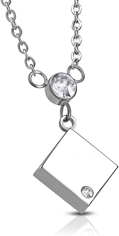 Comfort Zone Studios Stainless Steel Square Cube Bezel-Set CZ Charm Link Chain Necklace Pendant