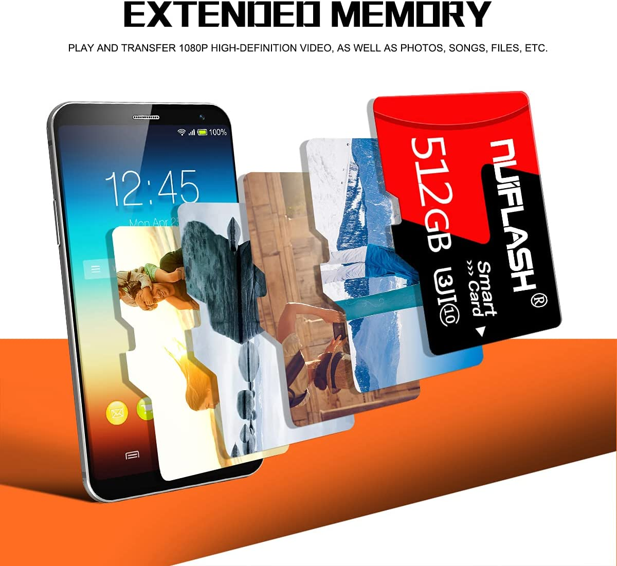 Micro SD Card 512GB TF Memory Card,SD Memory Card 512GB Class 10 with Free SD Card Adapter,Designed for Android Smartphones,Tablets and Others