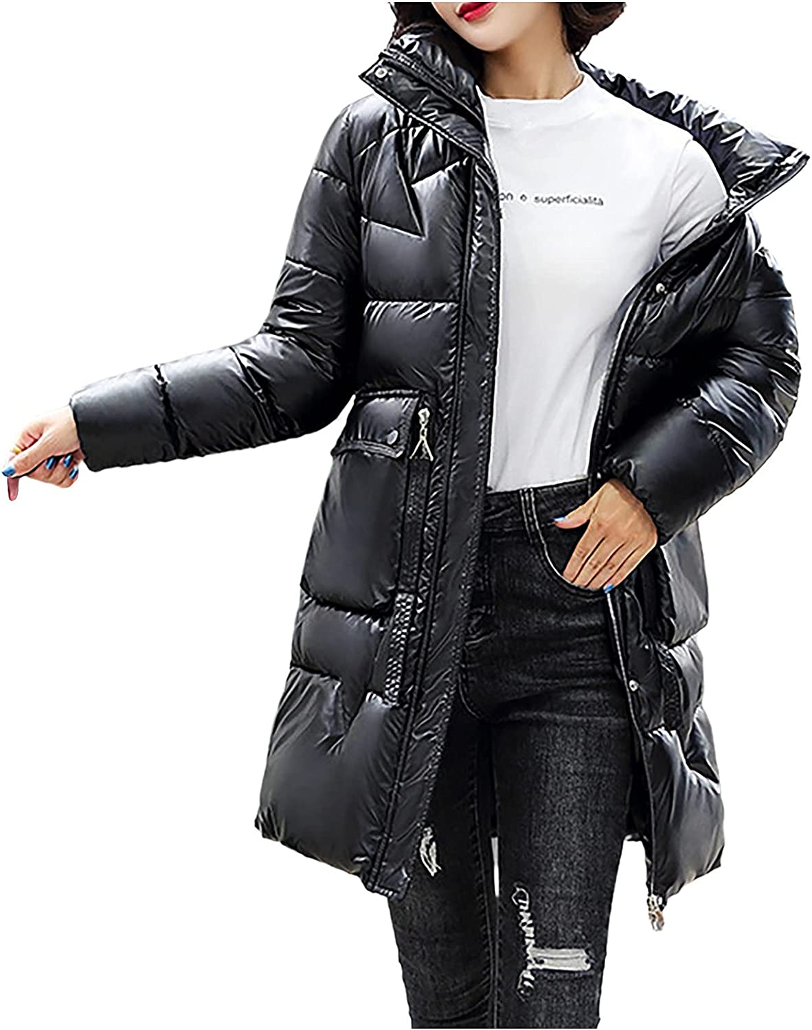 Winter Coats for Women Long-Sleeved Solid Color Down Jacket With Zipper Mid-Length