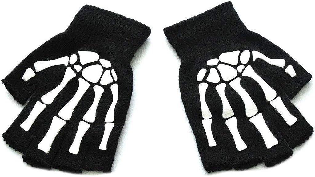 Unisex Adult Halloween Skeleton Skull Half Finger Gloves Luminous Winter Mittens