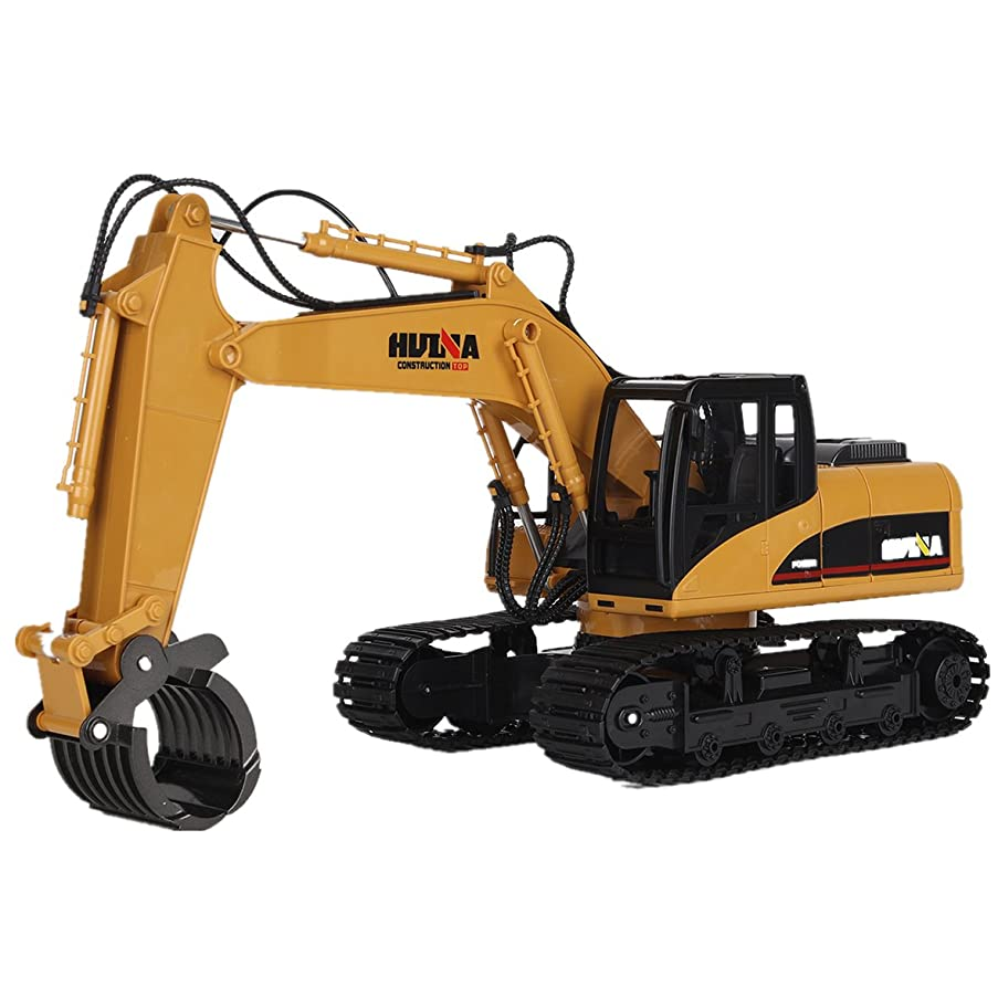 16CH RC Truck Fork Excavator 2.4G Remote Control Timber Grab Alloy Grapple Tractor Engineering Toy Model Hobby Games with Lights Sounds Construction Vehicle for Kids