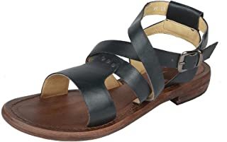 Salt N Pepper Zed Blue Brown Leather Buckle Men Gladiators Sandals