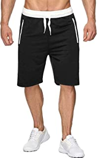 Voncheer Mens Elastic Waist Drawstring Summer Workout Shorts with Zipper Pockets