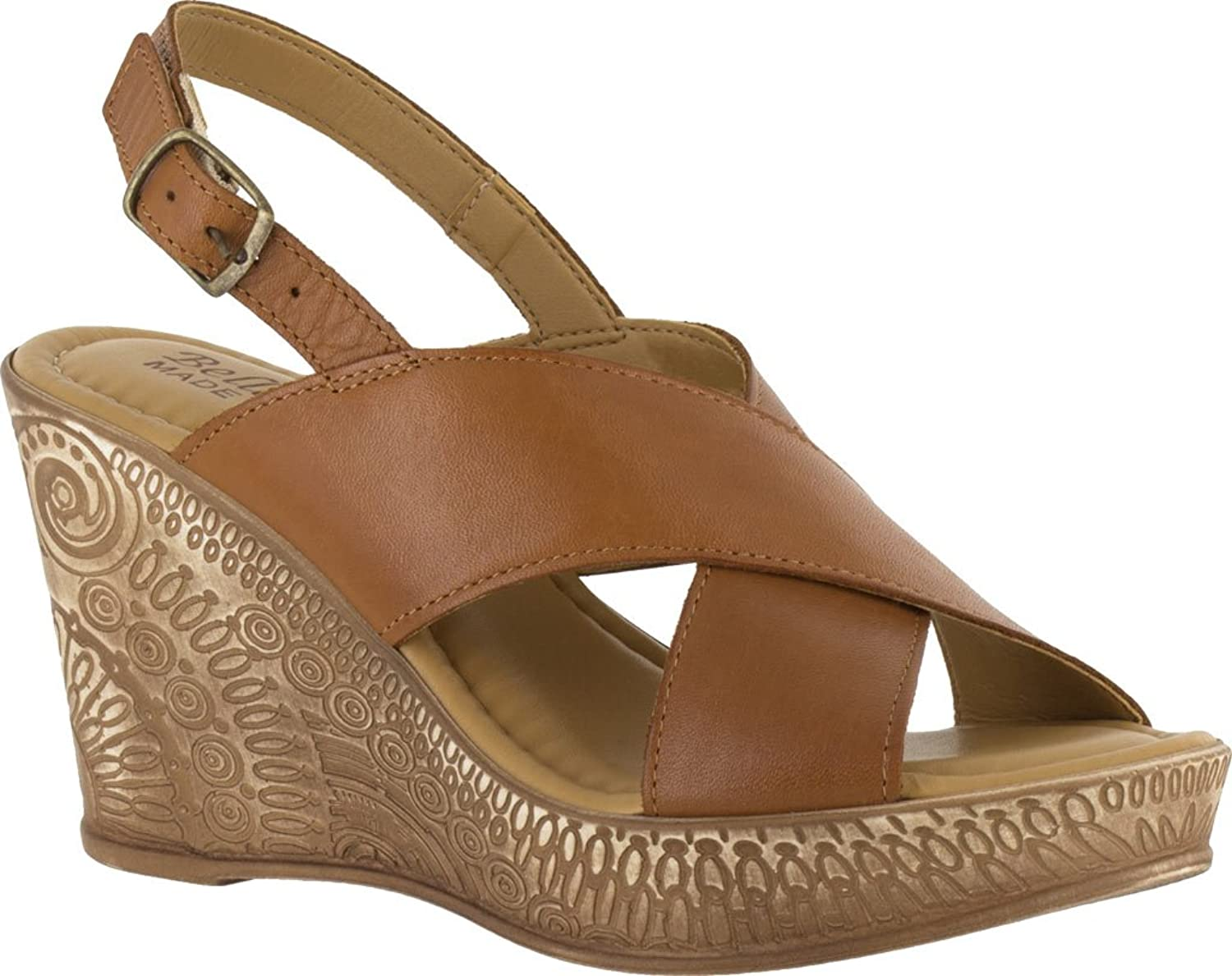 Bella Vita LEA- Women W Open Toe Leather Nude Wedge Sandal