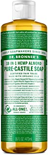 Dr. Bronner's - Pure-Castile Liquid Soap (Almond, 16 oz) - Made with Organic Oils, 18-in-1 Uses: Face, Body, Hair, Laundr...