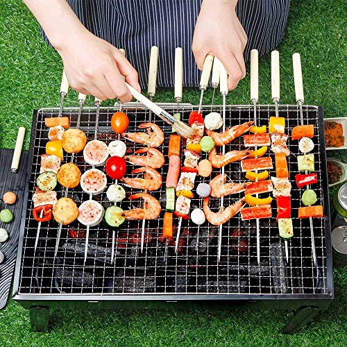 FungLam Barbecue Grill Portable Folding BBQ Grill Barbecues Outdoor Charcoal Barbecue Desk Chrome Plated Cooking for…