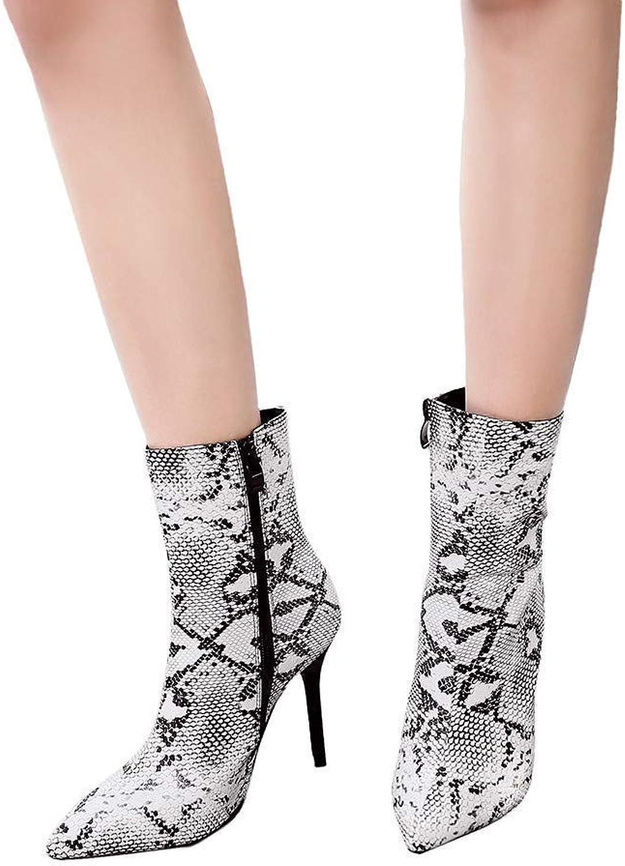 KAOKAOO Women's Fashion Snake Leather Pointed Toe shoes High Heel Martin Boots