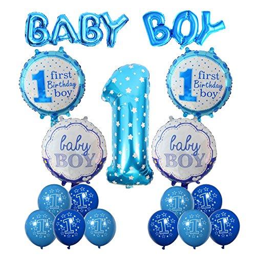 Cocodeko Geburtstag Dekoration Aufblasbar Helium Folie Ballons, Happy Birthday Baby Boy Jungen 1. Geburtstag Party Luftballons Set Supplies, Party Dusche Foto Requisiten Zahl 1 rund Herz - Blau