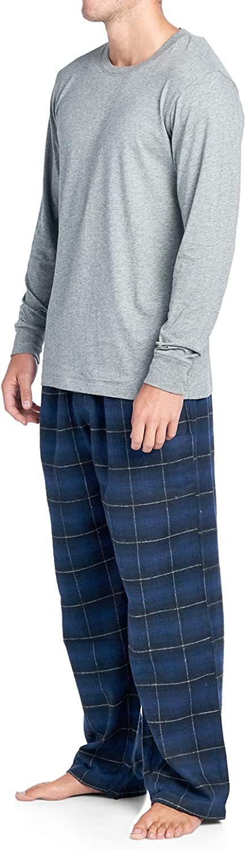 Ashford /& Brooks Men/'s V-Neck Long-Sleeve Top Flannel Pants Pajama Sleepwear Set