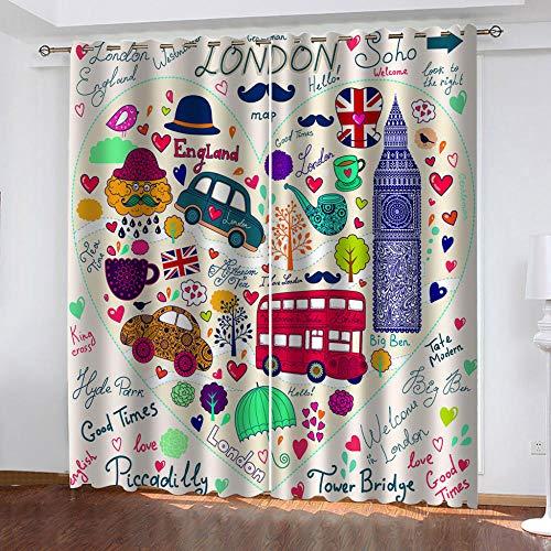 LOVEXOO Rideau Voilage British Street L75xA166cm Rideau Occultant Thermiques Opaque Moderne Lot de 2 Chambre décorative Salon Chambre d'enfants