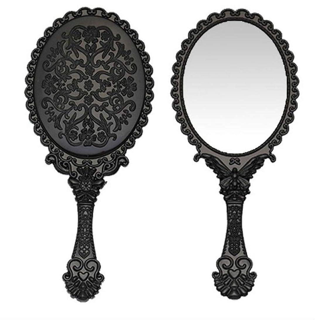 本部選出する冷酷な送料無料 トゥインクル 楕円の鏡 メイク ポーチ 化粧 ミラー 手鏡 姫系ハンドミラー ブラック