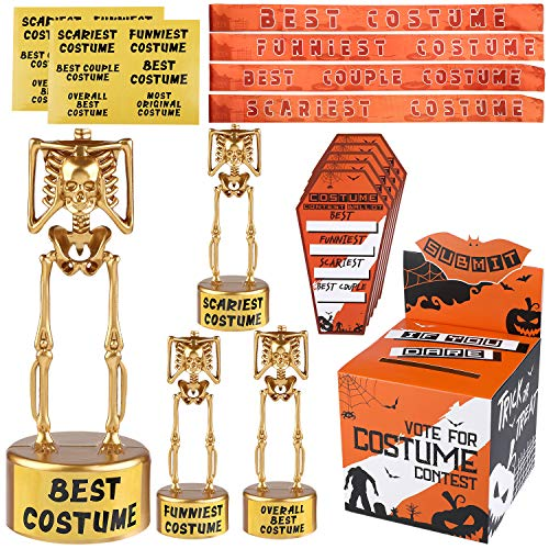 URATOT Halloween Costume Contest Ballot Box and 60 Voting Cards, 4 Pack Costume Skeleton Plastic Gold Trophies, 4 Pieces Costume Contest Sashes for Halloween Party Games Costume Contest Rewards