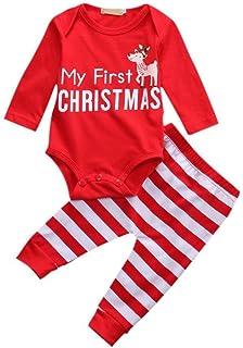 ae2124daaee70 BOBORA Tenues de Noel Bebe Fille Garcon Mon 1er Noel Manches Longues  Barboteuse + Pantalons Rayes