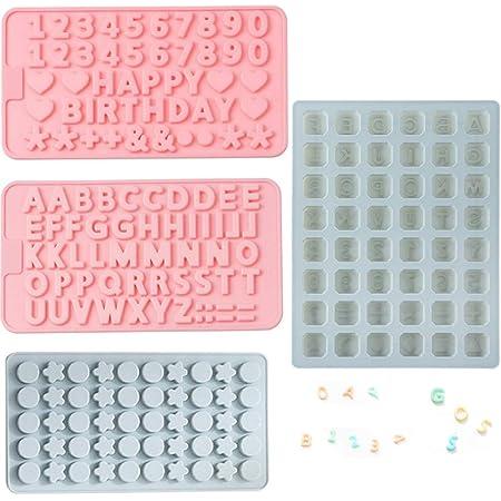 Juego de 4 moldes de silicona para letras y números de ...