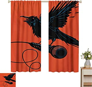 Mozenou Indie, Room Darkening Wide Curtains, Raven is Holding a Microphone Rock Music Theme Festival Party Gothic Singer, Waterproof Window Curtain Orange Black Blue