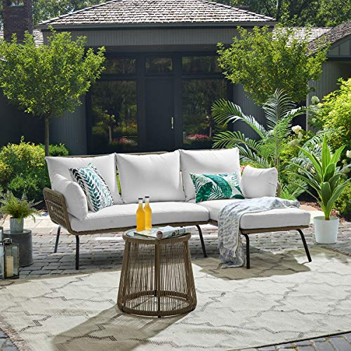 Barton 3 Pieces Patio Sectional Set Furniture Set Water-Resistant Outdoor Wicker Sectional Sofa PE Rattan Conversation Set (Cream)