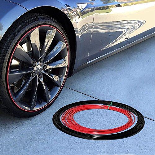 Upgrade Your Auto Wheel Bands Red Insert in Black Track Pinstripe Rim Edge Trim