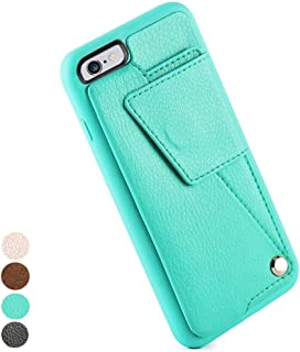 ZVEdeng Wallet Case with Card Holder for iPhone 6 Plus 5.5 inch, PU Leather Wallet Case with Credit Card Slot Shockproof Cover For iPhone 6 Plus / 6s Plus - Mint Green