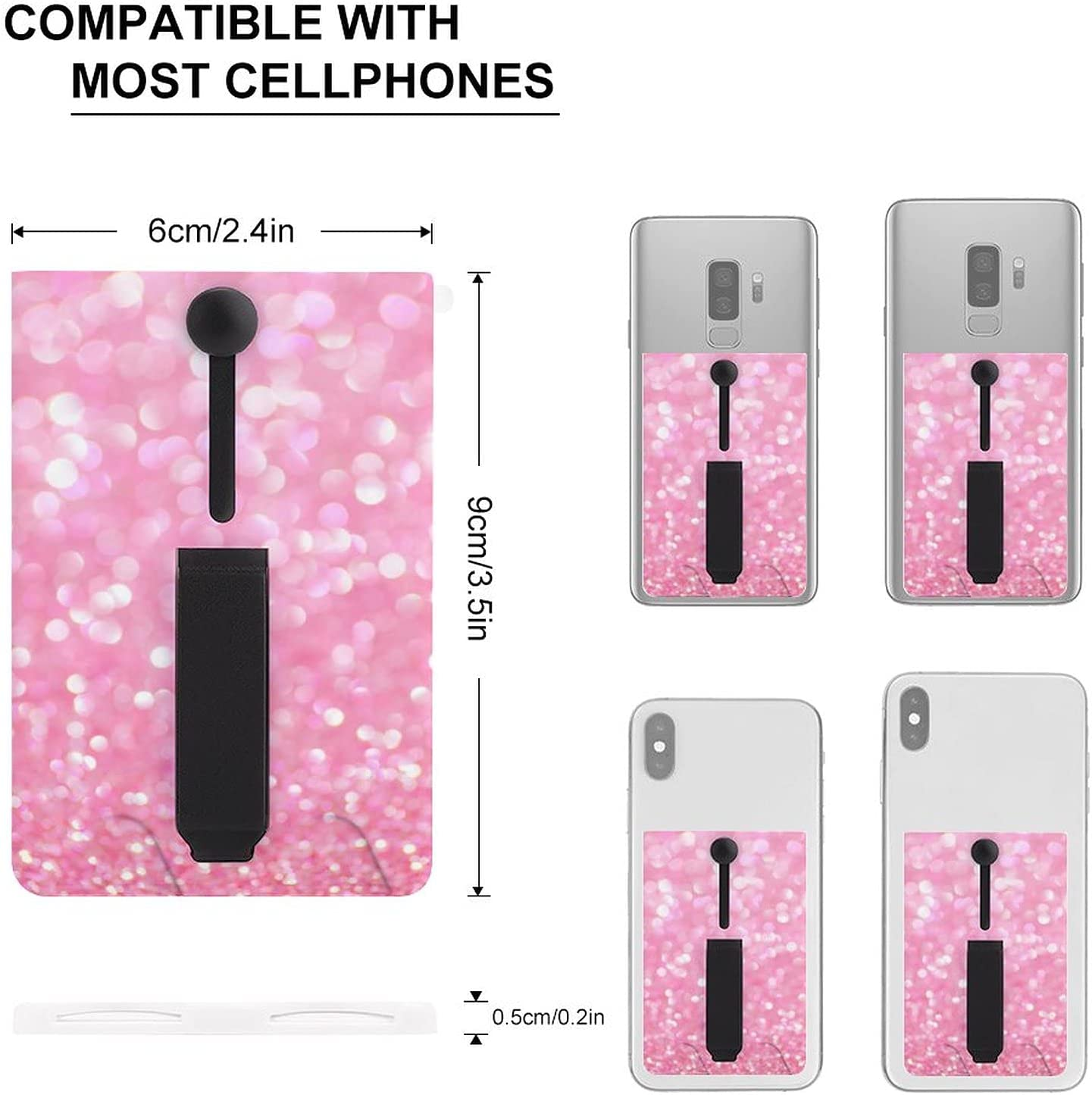 Cellphone Card Holder Dreamy Pink Adhesive Stick-on Credit Card Wallet Pocket with Ring for Smartphones-Kickstand