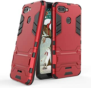MaiJin Funda para Xiaomi Redmi 6 (5,45 Pulgadas) 2 en 1 Híbrida Rugged Armor Case Choque Absorción Protección Dual Layer Bumper Carcasa con Pata de Cabra (Rojo)