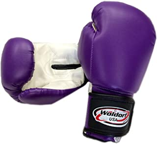Woldorf USA Men and Women Training Fighting Sports Boxing Gloves - Heavy Punching Bag for Kids - Sparring Gloves, Kickboxing Gloves, Muay Thai Gloves and MMA Sparring Gloves - Vinyl 6oz Purple Sets